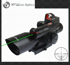 Vector Optics 2.5-10x40 Hunting Green Laser Rifle Scope with Mini Red Dot Sight