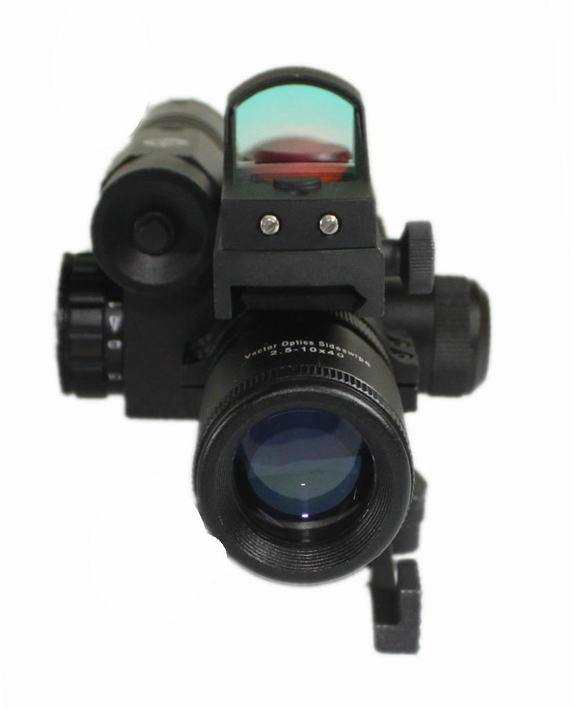 Vector Optics 2.5-10x40 Hunting Green Laser Rifle Scope with Mini Red Dot Sight 4
