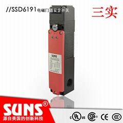 供应SUNS美国三实安全门开关SSD6191-SL13A-N-24-C电磁门锁开关安全防护门开关