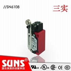 供應SUNS美國三實行程開關SN6108-SP-C安全限位開關金屬滾輪擺杆式
