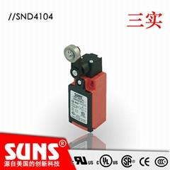 供應SUNS美國三實行程開關塑料殼體SND4104-SP-C安全限位開關金屬滾輪頭部