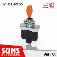 SUNS美国三实拨动开关TN8A-107EO三位置钮子开关橙色塑料钮子自动复位式