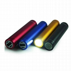 2000mAh aluminium lipstick power bank with led torch