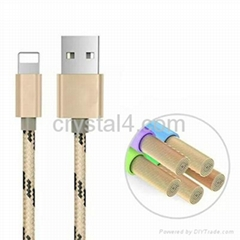 Snake printing fabric braided phone cable