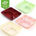 一次性飯盒三格帶蓋紅打包盒