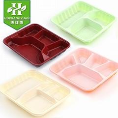 一次性饭盒三格带盖红打包盒