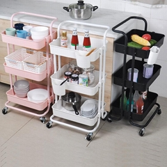 #1001 3-Tier Kitchen Trolley Cart ABS Material with Metal Tube