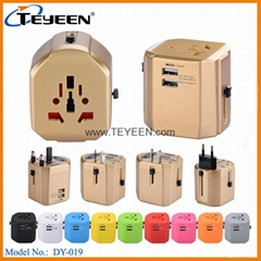 New World Travel Adapter with Dual USB Charger (DY-019) (Hot Product - 1*)