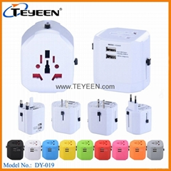 New 2.5A Universal Travel Adapter with Dual USB Charger (DY-019)