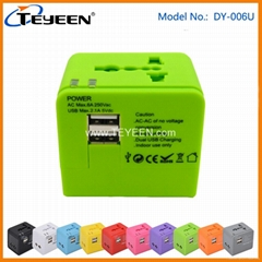 World Travel Adapter with Dual USB (DY-006U)