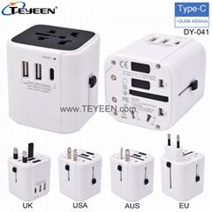 多國轉換插頭 帶Type-C充電接口