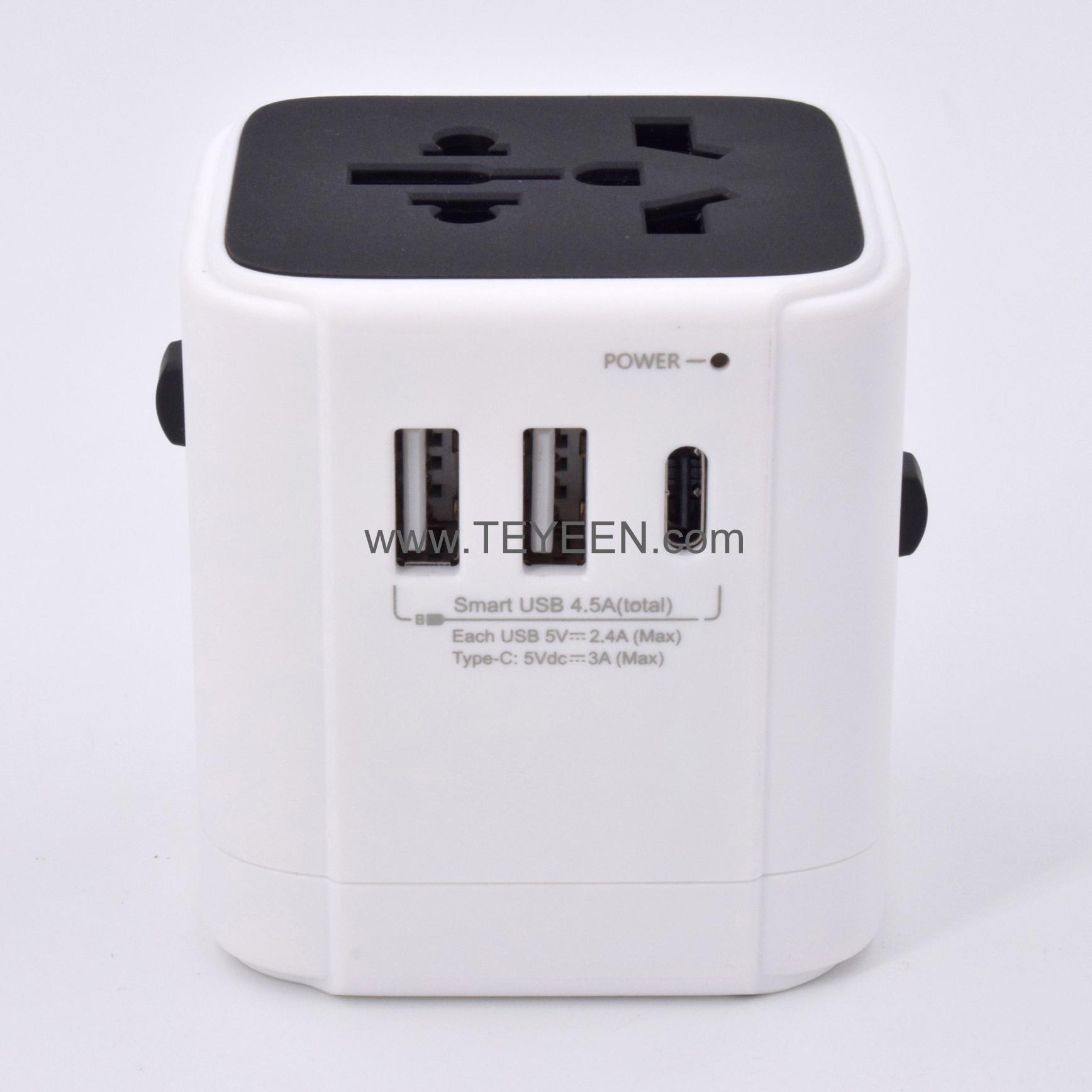 多國轉換插頭 帶Type-C充電接口 3