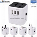 Worldwide travel adapter with 3 USB output 4500mA