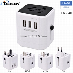 Worldwide travel adapter with 3 USB