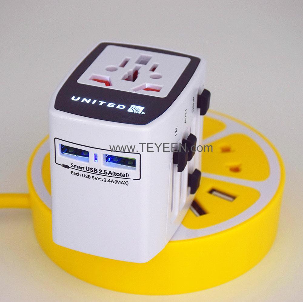 雙USB 全球通轉換插座 LED 背光logo 6