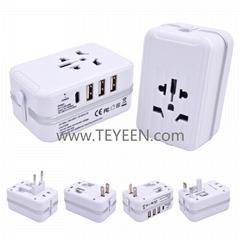 旅行箱造型轉換插頭 3USB + Type-C 充電接口