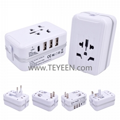 Universal world travel adapter with 3 USB ports and 1 Type-C port