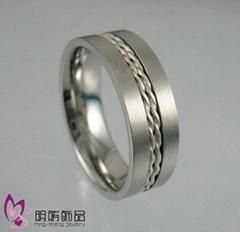 白钢镶银戒指