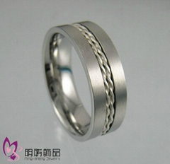 Steel with silver inlay ring