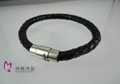 stainless steel bracelet with leather