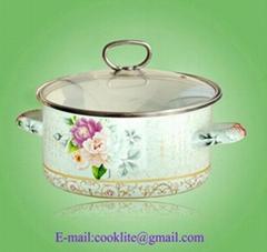 搪瓷湯鍋 (玻璃蓋,手柄)