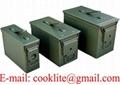 Boîte de rangement munitions métallique / Caisse militaire de munition