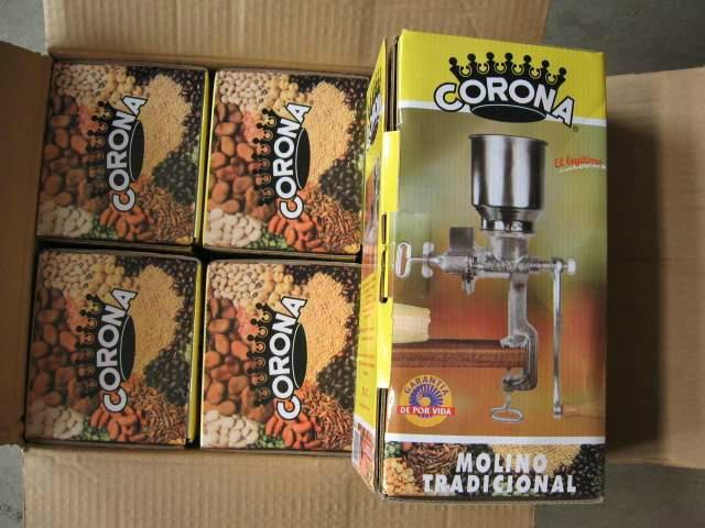 Molino de mano para maíz / Molino manual para granos maíz cafe marca Corona