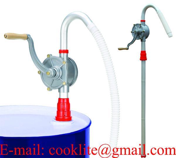 Aluminum Rotary Gas Oil Fuel Manual Hand Pump 55 Gallons Self Priming Dispenser