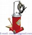 Pompa a barile per grasso 12 kg con ruote a pedale