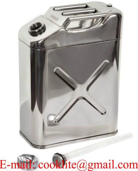 20 litre US Style Stainless Steel Jerry Can with Screw Top & Built-in Spout
