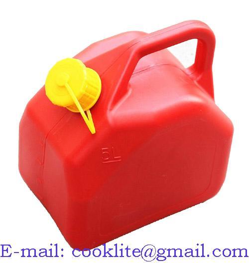 Tanica in plastica omologata carburante benzina con beccuccio flessibile 5 Lt.