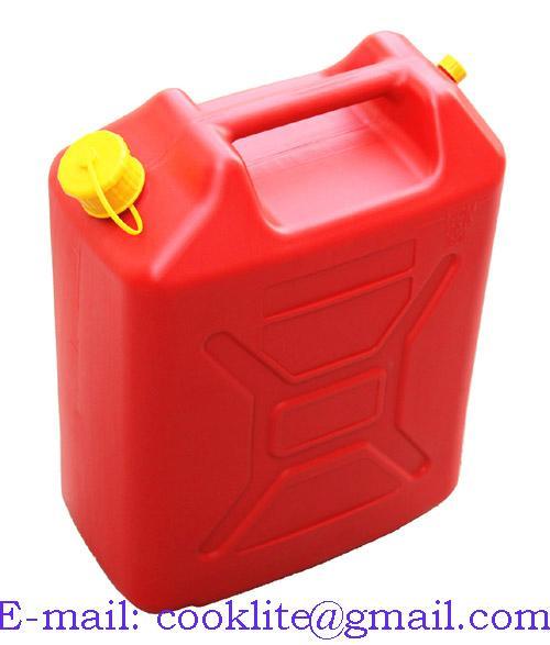 Tanica plastica rossa carburante benzina beccuccio travasatore omologata 20Lt