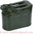 Leger metaal benzine/diesel jerrycan 10 liter met stevige afsluiting