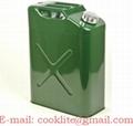 Staal benzine/diesel jerrycan 20 liter groen met schenktuit & ontluchtingsventiel