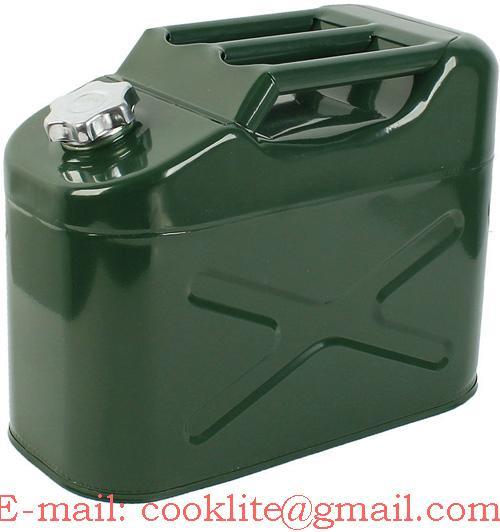 Metalen stalen jerrycan/benzinekan met schroefdop 10L voor o.a. benzene