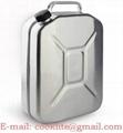 Benzinekan/jerrycan aluminium met schroefdop voor benzine en diesel
