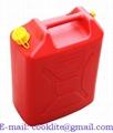Kunststof jerrycan/benzinekan 20 liter rood met schenktuit voor benzine en diesel