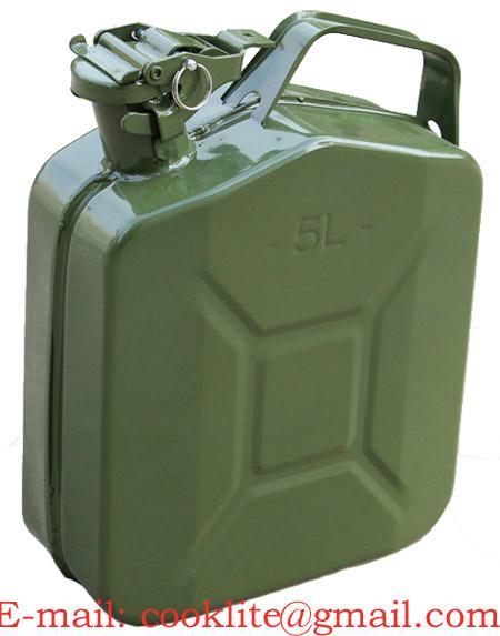Leger stalen Jerrycan 5 liter voor brandstof met schenktuit