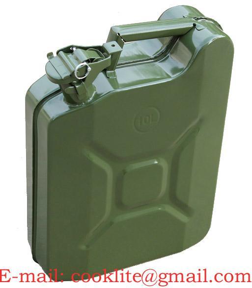 Leger gelakte stalen jerrycan 10 liter met stevige afsluiting