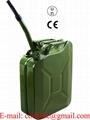 Groen gelakte stalen jerrycan 20 liter met stevige afsluiting