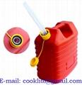 Kunststof benzine/diesel jerrycan met tuit - rood - 10L