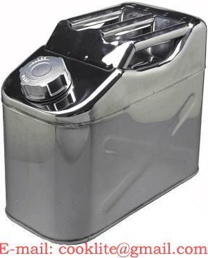 Roestvrij stalen (RVS) brandstof jerrycan/benzinekan 10 liter met schroefdop voor opslag en vervoer van brandstof