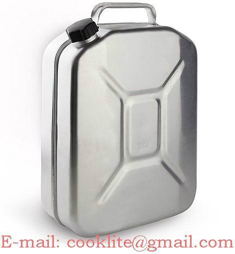Galão bidão reservatório em alumínio 20 litros para transporte e armazenamento de combustíveis e água