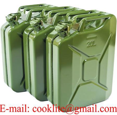 Bidão / jerrycan combustível metalico 20 litros tipo militar
