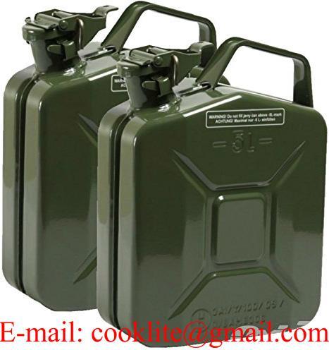 Jerrican métallique pour gasoil et essence type militaire 5 litres