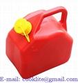 Plastdunk Jerry can / Diesel benzin dunk / Jeepdunk plast / Reservedunk rød 5l
