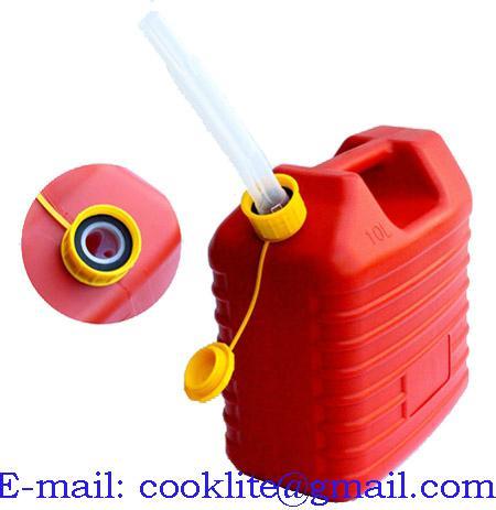 Bensinkanne rød plast med tanktilkobling 10L