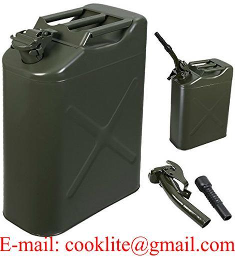 Jerrican métallique pour gasoil et essence type militaire 20 litres