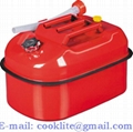 5 Gallon Horizontal Style Steel Gas Fuel Tank Portable Jerry Can with Screw Cap & Flexible Spout