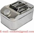 Stainless Steel 10 Litre Jerry Gerry Can Horizontal Jeep Can Fuel Diesel Petrol Canister With Screw Cap & Spout